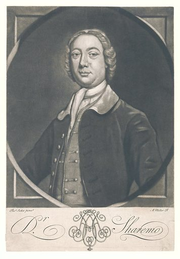 """Dr Sharemo (Henry Harmood). Mezzotint by A Miller after T Stokes, ca 1740. Sitter described thus by Chaloner Smith, loc. cit.: """"Henry Harmood. Attorney and friend of Lord Northington …, Clerk to the Enrolments in Chancery and Messenger to the Great Seal. Died at Alresford, Hants., 26th Dec. 1791, at a very advanced age. The origin of the appellation on the print has not been discovered. At p 64 of the Strawberry Hill catalogue, a note from Mr Bull is mentioned, stating that only two impressions of this print are known. """" Half length in trompe l'oeil oval masonry surround, directed to left, facing front. Created 1740?. Dr Sharemo (-1791). Contributors: Thomas Stokes (active approximately 1737); Andrew Miller (-1763). Work ID: e4vhfw3m."""