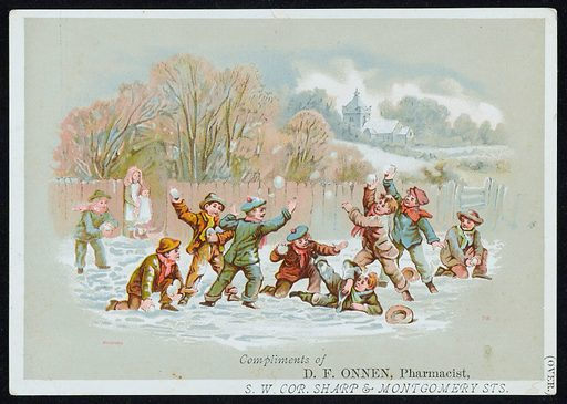 Boys having a snowball fight. A snowballing scene with 9 boys playing in the snow and 2 small girls watching them from a gap in the wooden fence. Behind them are trees, fields and a church. This may have been sent locally as a Christmas card. On the reverse of the picture is an advertisement for Onnen's German Fever and Arue Mixture. Work ID: kf2x4p95.