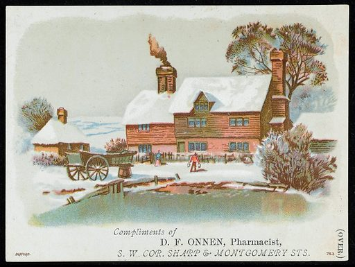 Rural snow scene on a card, complements of Dr D F Onnen. A rural snow scene showing a house behind a pond, with a cart and people between them. This may have been sent locally as a Christmas card. On the reverse of the picture is an advertisement for Onnen's German Fever and Arue Mixture. Work ID: dd38wbgf.