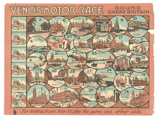 Game: 'Veno's Motor Race Round Great Britain'. A paper board game advertising Veno's Lightning Cough Cure. There are 30 circular or oval spaces, taking the players through a journey round Britain, starting in Manchester and ending back there at the Veno's factory. Each space has a small illustration of some local landmark (Brighton Palace Pier, York Minster, Birmingham Town Hall, etc.). Work ID: eyw3z46b.