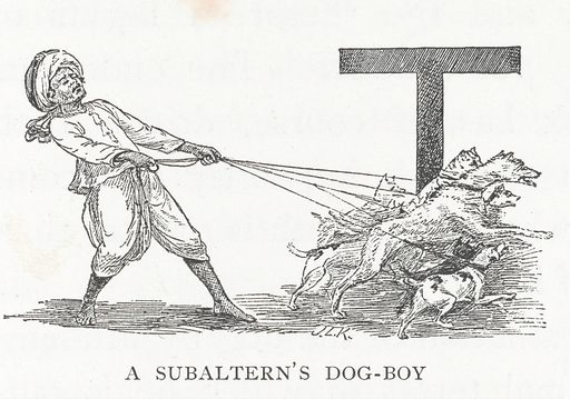 Illustration of a Subaltern's dog-boy at the beginning of Chapter XI in J L Kipling 'Beast and Man in India: A popular sketch of Indian animals in their relations with the people'. Work ID: bvfmc96g.