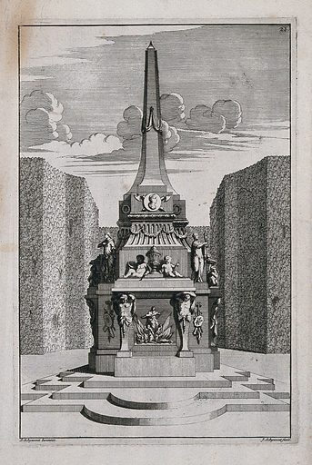 An ornate garden obelisk embellished with statues and urns. Etching by J Schynvoet after S Schynvoet, early 18th century. Contributors: Simon Schynvoet. Work ID: bp65apn9.