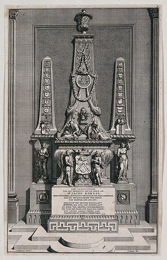 An ornate sepulchre bearing an inscribed epitaph to Mr Jacob Boreel. Etching with engraving by J Goeree, c 1697, after S Schynvoet. Contributors: Simon Schynvoet. Work ID: me2ye3d4.