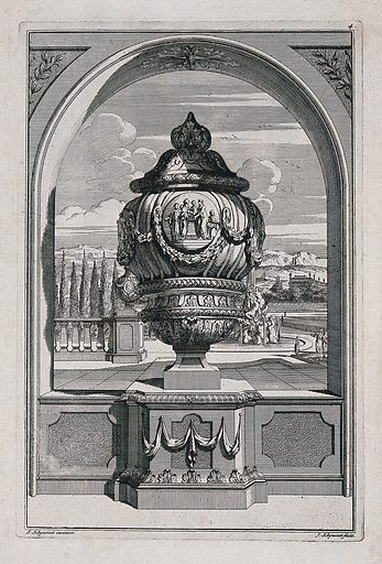 A large, ornate vase with figures clasping hands carved on the side, in a classical garden. Etching by J Schynvoet, c 1701, after S Schynvoet. Contributors: Simon Schynvoet. Work ID: zqbftvrs.