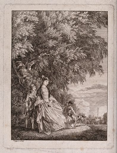 A lady and two children with a dog under a tree in a country park. Etching by P Sandby, c 1752, after himself. The park shown is possibly Windsor Great Park. Created 1752. Trees. Gardens. Dogs. Costume – England – History (- 18th century). Parks. Windsor (Windsor and Maidenhead, England). Contributors: Paul Sandby (1731–1809). Work ID: gvz4x7ce.