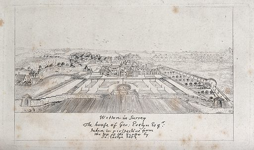 Wotton house and grounds in Surrey. Etching after J Evelyn, 1653. Created 1653. Parks – England. Gardens. Gardens – Styles. Wotton (Surrey, England). John Evelyn, 1620–1706 Homes and haunts. Contributors: John Evelyn (1620–1706). Work ID: dzrwwtsu.