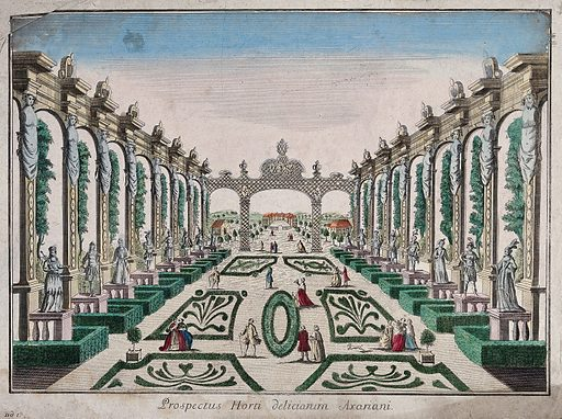 A classical garden with statues and topiary work. Coloured etching. Gardens – Styles. Statues. Landscape architecture. Ornamental trees. Ornamental. Plants. Gardens. Work ID: w486nr8w.
