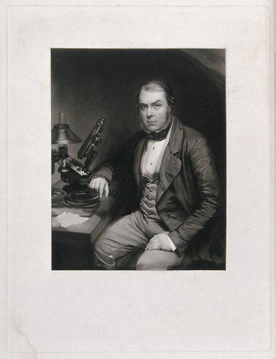 John Thomas Quekett. Mezzotint by W Walker, c 1850, after E Walker. Created 1850. Histology. Optical instruments. John Quekett (1815–1861). Contributors: E Walker (1800–1876); William Walker (1791–1867). Work ID: mr88qbgu.