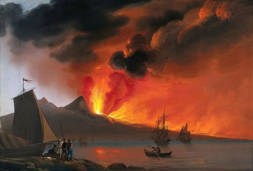 Italy (?): a volcano erupting in the background; boats and sailors in the foreground. Gouache painting, ca 1830. Created 1830. Volcanic eruptions. Work ID: cpd86a8a.
