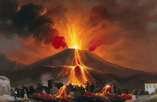 Eruption of Mount Vesuvius; lava covering dwellings. Gouache painting by Mauton, 1834. Created 1834. Volcanic eruptions. Vesuvius (Italy). Contributors: Mauton, painter in Naples. Work ID: a9mp48ft.