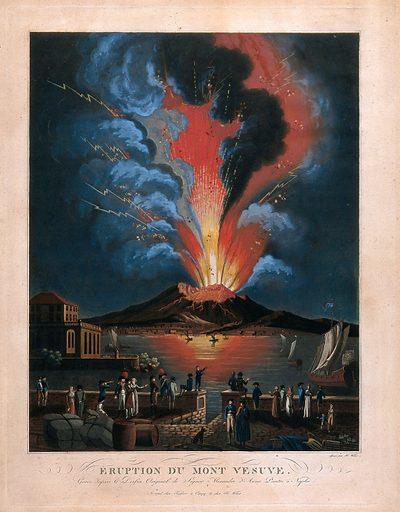 Eruption of the Vesuvius at night