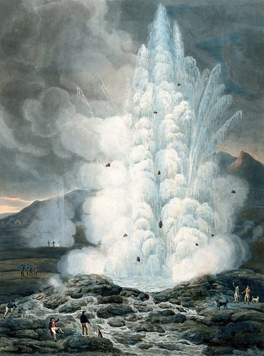 Hot spring in Iceland; people in the foreground. Aquatint by F Chesham, December 1796. Created Decr. 1796. Contributors: Francis Chesham (1749–1806). Work ID: q6ahkhh6.