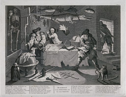 Three men around a table in a cabinet of naturalia; various animals suspended from the ceiling. Engraving by T Cook after W Hogarth, ca 1760. Created 1760. Contributors: William Hogarth (1697–1764); Thomas Cook (approximately 1744–1818). Work ID: zbjtvfdw.