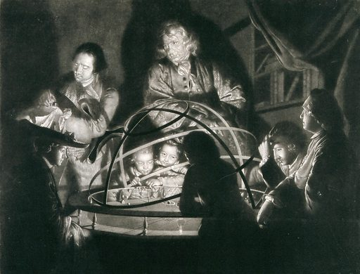 A philosopher giving a lecture on the orrery. Mezzotint by W Pether after J Wright, ca 1780. Created 1780?. Planetariums. Contributors: Joseph Wright (1734–1797); William Pether (1731–approximately 1795). Work ID: qee739s7.