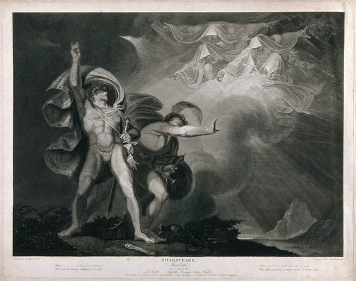 Macbeth, Banquo and the three witches. Engraving by J Caldwall after H Fuseli, 23 April 1798. Created 23 April 1798. Contributors: Henry Fuseli (1741–1825); James Caldwall (1739–c1819). Work ID: xfxtzcqe.
