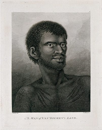 A man from Van Diemen's Land (Tasmania), discovered by Captain Cook during his third voyage, 1776–1780. Engraving by J Caldwall after J Webber, 1780/1785. Contributors: John Webber. Work ID: ax5f5zj9.