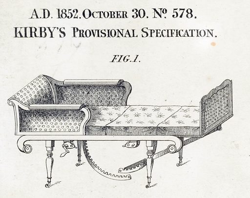 Adjusting couch for medical, surgical and general purposes. Patent specification of Edmund Adolphus Kirby: adjusting couch for medical, surgical, and general purposes. Fig 1 Chair. Work ID: dc9yhj2c.