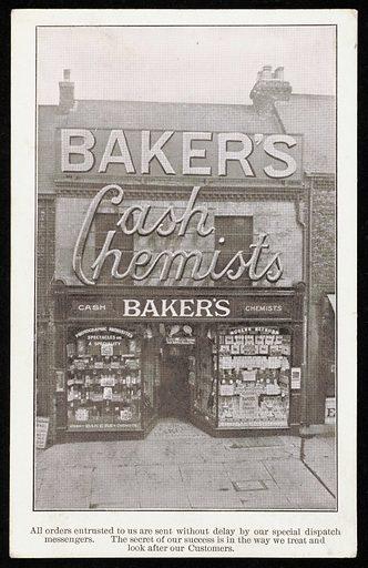 Postcard advertising Baker's cash chemists and opticians. Work ID: j5udd4ms.