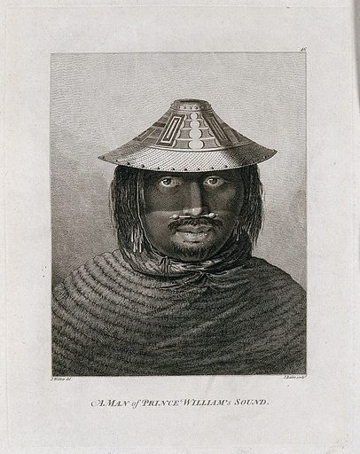 A man from Prince William's Sound (Alaska), head and shoulders; encountered by Captain Cook on his third voyage (1777–1780) Engraving by J Basire after J Webber, 1780/1785. Contributors: John Webber. Work ID: mncemnpr.