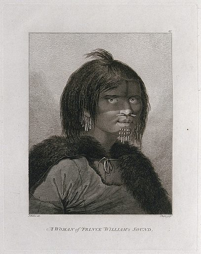 A woman from Prince William's Sound (Alaska), head and shoulders; encountered by Captain Cook on his third voyage (1777–1780) Engraving by J Basire after J Webber, 1780/1785. Contributors: John Webber. Work ID: f7repc9a.