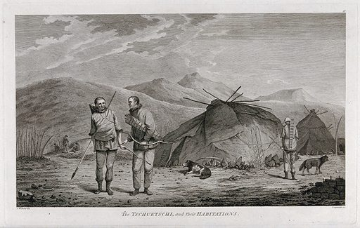 """Chukchi people and housing encountered by Captain Cook on his third voyage (1777–1780). Engraving by D Lerpiniere after J Webber, 1780/1785–. Described in the online catalogue of the Royal Museums Greenwich as follows (with opposite orientation to the present print): """"Cook travelled to Chukotski Peninsula, Siberia on August 10, 1778. In this engraving, two Chukchi men are armed with bows and arrows at left, and a third figure and a dog are at right. Three summer huts (yarangas) are at right. In the background behind the figures a hillock (semidugout) serves as another habitation underground. The tents are summer huts of the Chukchi, which Cook describes as 'pretty large, and circular and brought to a point at the top; the framing was of slight poles and bones, covered with the skins of sea animals … About the habitations were erected several stages ten or twelve feet high, such as we had observed on some part of the American coast, they were built wholy of bones and seemed to be intended to dry skins, fish &ca upon, out of the reach of their dogs…' The hillock on the far left appears to be a winter house of the natives, of which Cook observed that the floor 'is sunk a little below the surface of the earth.' It was of an oval form, with a framing of wood and whale bones. 'Over this framing is laid a covering of strong coarse grass and over it a covering of earth; so that on the out side it looks like a little hillock, supported by a wall of stone, about 3 or 4 feet high which is built round the two sides and one end, at the other end the earth is raised sloaping to walk up to the entrance which is by a hold at the top of the roof over that end.' The 'semisdugouts' had two entrances: a corridor in winter 'and a round opening on the top, closed with a whale's shoulder blade and used only in summer.'"""". Created between 1780 and 1785. Chukchi. Ethnology. Chukchi Peninsula (Russia). Contributors: John Webber (1751–1793); Daniel Lerpinière (1745–1785). Work ID: xju5jstn."""