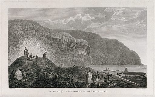 People from Oonalashka (Canada) and their huts; encountered by Captain Cook on his third voyage (1777–1780) Engraving by J Hall and S Middiman after J Webber, 1780/1785. Created 1780/1785. Contributors: John Webber (1751–1793); John Hall (1739–1797); Samuel Middiman (approximately 1750–1831). Work ID: vs94yse2.