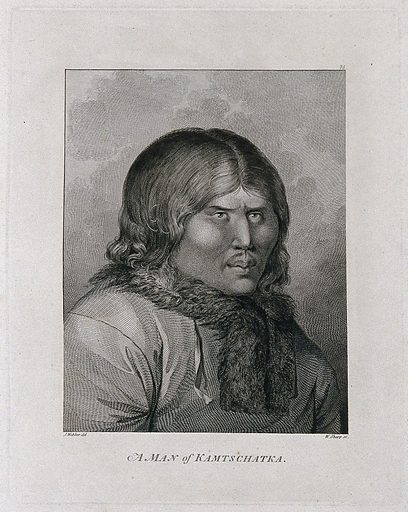 A man from Kamtschatka (Russia); encountered by Captain Cook on his third voyage (1777–1780) Engraving by W Sharp after J Webber, 1780/1785. Contributors: John Webber. Work ID: pzrh5yzz.