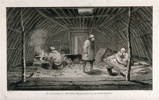 The interior of a winter habitation from Kamtschatka (Russia); encountered by Captain Cook on his third voyage (1777–1780) Engraving by W Sharp after J Webber, 1780/1785. Created 1780/1785. Contributors: John Webber (1751–1793); William Sharp (1749–1824). Work ID: hbm4tgkw.