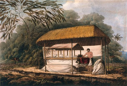 The body of Waheiadosa, chief of Oheitepeha lying in state; encountered by Captain Cook on his third voyage (1777–1780). Coloured etching after J Webber, 1 July 1789. Created 1 July 1789. Contributors: John Webber (1751–1793). Work ID: avkdvw92.