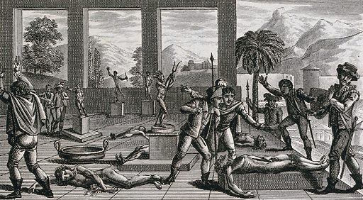 Spanish conquistadors discovering victims of human sacrifices among the Incas (?). Etching by ACF Villerey after N Vallain. Created between 1790 and 1799?. Human sacrifice. Contributors: Nanine Vallain (active 1787–1810); Antoine Claude François Villerey (1754–1828). Work ID: tdj7gyea.