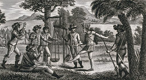 A young Inca man kicking a balance in which the Spanish conquistadors are weighing gold. Etching by ACF Villerey after N Vallain. Created between 1790 and 1799?. Conquerors. Balances (Weighing instruments). Incas. Contributors: Nanine Vallain (active 1787–1810); Antoine Claude François Villerey (1754–1828). Work ID: ejh94j8g.
