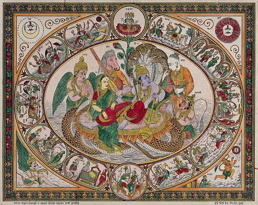 """Narayan on the waters with Lakshmi massaging his legs surrounded by Narada, Maruti, Garuda and Tumbra, all surrounded by roundels. Coloured transfer lithograph. Nārāyana is an incarnation of Vishnu Maruti is another name for Hanuman Tumbara is another spelling for Tumburu who is usually the personified tambour Lettering in Devanagari script The subject of the picture is also represented under the title """"Vishnu on the milk ocean"""". Vishnu (Hindu deity). Lakshmi (Hindu deity). Hindu gods. Hindu goddesses. Garuḍa (Mythical bird). Mythical. Animals. Hanumān (Hindu deity). Brahmā (Hindu deity). Siva (Hindu deity). Parvati (Hindu deity). Religion. Massage – India. Music – India. Moon. Work ID: svnhmh63."""