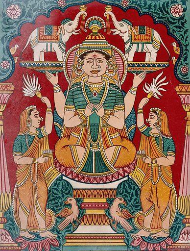 Lakshmi being anointed by elephants. Chromolithograph. Lakshmi (Hindu deity). Hindu goddesses. Religion. Hindu mythology. Hindu symbolism. Work ID: my5f2za5.