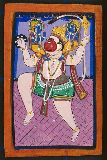 Hanuman carrying Rama and Lakshman. Gouache drawing. Rāma (Hindu deity). Lakṣmaṇa (Hindu deity). Hindu gods. Hanumān (Hindu deity). Religion. Hindu mythology. Work ID: x392snpv.