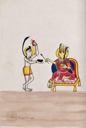 Shiva begging from Annapurna. Gouache drawing. Annapurna is a beneficent form of Durgā and a female aspect of Siva. Siva (Hindu deity). Hindu gods. Hindu goddesses. Charity. Hindu mythology. Annapurna (Nepal). Work ID: yy95deuk.