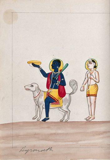 Bhairava riding a dog with worshipper. Gouache drawing. Bhairava is the angry form of Shiva. Siva (Hindu deity). Hindu gods. Religion. Dogs. Anger. Bhairava (Hindu deity). Work ID: ay397p34.