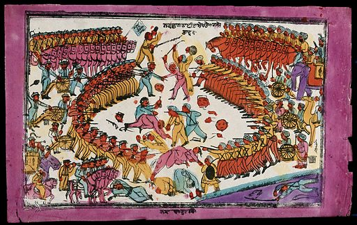 Battle between Sikhs and English. Coloured transfer lithograph. Sikhs. Sikh War (1848–1849). Battles. Soldiers. Weapons. Armor. Animal fighting. War. Elephants. Work ID: cgg7j4py.