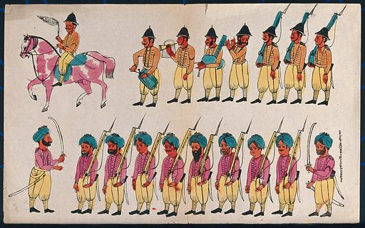 Two rows of soldiers, English and Sikh. Coloured transfer lithograph. Soldiers. Sikhs. Music. Band music. Weapons. Armor. Sikh War (1848–1849). Military uniforms. Work ID: cjetcewm.
