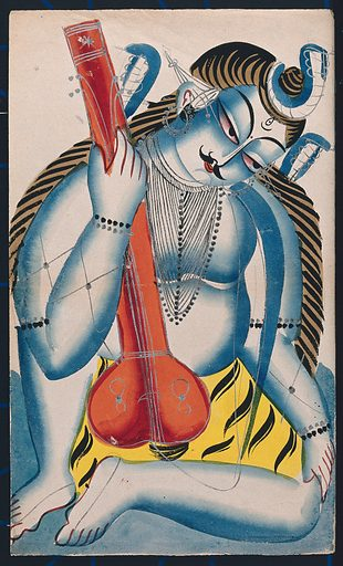 An intoxicated Shiva holding a sitar or tambura in the form of a lingam. Watercolour drawing. Like all Hindu deities, Shiva has many manifestations, he can be benign in one aspect and fierce in another. The lingam is the most sacred object related to the worship of Shiva. It signifies Shiva's power to create and his power to control creativity by transmuting sexual energy into spiritual energy. He is also depicted as a musician. Siva (Hindu deity). Sitar. Musical instruments – India. Alcoholism. Hindu gods. Tambura (Fretted lute). Work ID: ssbs8uu5.