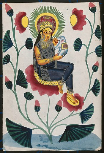 A goddess on a flowering plant holding a baby elephant, could either be Lakshmi or Parvati. Watercolour drawing. Lakshmi usually appears with elephants anointing her with water, while Parvati usually appears with an elephant-headed baby Ganesha. Parvati (Hindu deity). Lakshmi (Hindu deity). Elephants. Flowers. Hindu goddesses. Gaṇeśa (Hindu deity). Hindu gods. Work ID: aswdhj6s.
