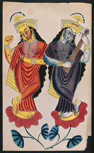 Two unidentified goddesses dancing on flowers playing a tambura and castanets. Watercolour drawing. Hindu goddesses. Tambura (Fretted lute). Percussion instruments. Costume. Hindu mythology. Musical instruments – India. Work ID: bxw2ajua.