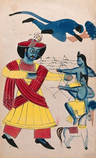 Rama fighting his sons Lava and Kusa with Hanuman helping. Watercolour drawing. Rama was interrupted during a horse sacrifical ceremony (Aswa-medha) by two boys who after defeating their uncles, fought their father, Rama. Rama recognised his two twin sons Lava and Kusa while fighting them, even though they were banished before birth with their mother, Sita There are many versions of Rama's life history and this is one variation. Rāma (Hindu deity). Hanumān (Hindu deity). Hindu gods. Combat. Archers. Bow and arrow. Sacrifice. Horses. Hindu mythology. Work ID: stknxxc8.