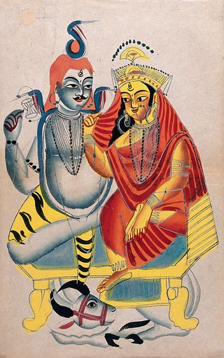 Shiva and Parvati sitting on their throne with Nandi the bull. Watercolour drawing. Siva (Hindu deity). Hindu gods. Parvati (Hindu deity). Hindu goddesses. Bulls. Hindu mythology. Work ID: zme24pfu.