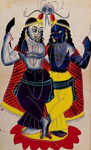 Radha and Krishna on a lotus flower. Watercolour drawing. Krishna (Hindu deity). Rādhā (Hindu deity). Hindu gods. Hindu goddesses. Hindu mythology. Work ID: jvyursam.