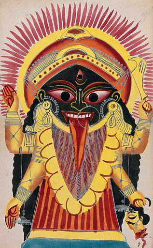 Kali holding a demon's head. Watercolour. The goddess Kali is portrayed as a terrifying demoness wearing a garland of skulls and sticking out her tongue red with blood. Her fearsome appearance is intended to frighten off evil spirits against which she is invoked. Kālī (Hindu deity). Durgā (Hindu deity). Parvati (Hindu deity). Hindu goddesses. Fear. Work ID: ynqhaqry.