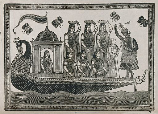 Krishna steering a peacock-headed boat carrying seven maidens and an old lady. Transfer lithograph. Krishna (Hindu deity). Boats and boating. Peafowl. Butterflies. Hindu gods. Fishes. Hindu mythology. Work ID: f6g2uwkx.