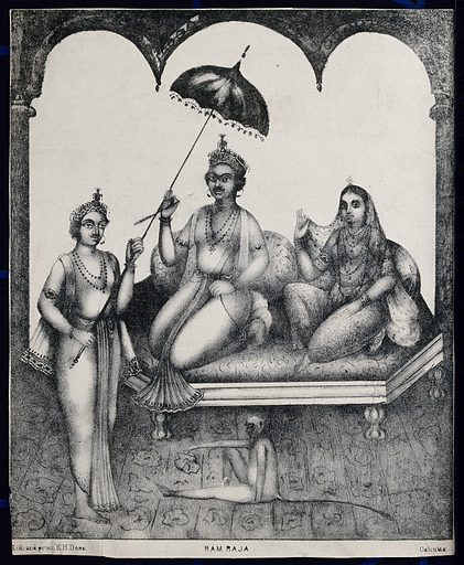 Rama and Sita enthroned with servant and monkey. Lithograph. Rāma (Hindu deity). Hindu gods. Sītā (Hindu deity). Hindu goddesses. Monkeys. Hindu mythology. Work ID: q6kwcw2a.