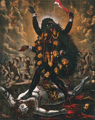 Kali standing triumphantly over Shiva's corpse. Chromolithograph. The Unmanifest of Kālī is represented by the corpse of Siva on which she stands. Kālī (Hindu deity). Siva (Hindu deity). Hindu gods. Hindu goddesses. Fear. Death. Hindu mythology. Work ID: ytgugdnx.
