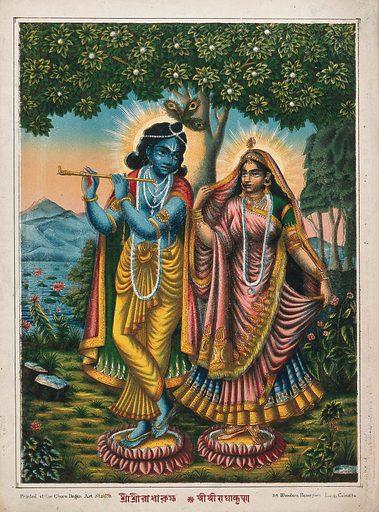 Radha and Krishna on separate lotuses. Chromolithograph. Rādhā (Hindu deity). Krishna (Hindu deity). Lotus. Flute. Hindu gods. Hindu goddesses. Hindu mythology. Work ID: jatn6dvt.