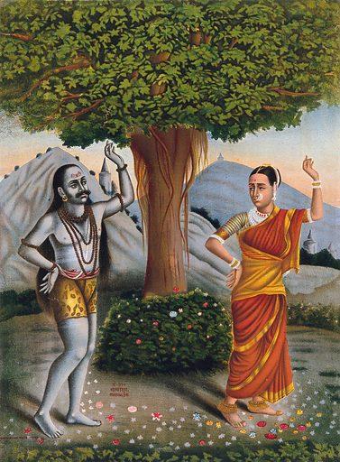 Shivaite yogi accosts a woman under a banyan tree. Chromolithograph. Yogis. Costume. Religion. Work ID: rgt4jmhd.